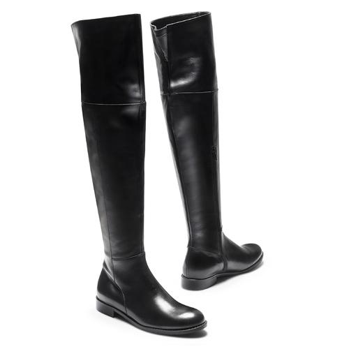 Stivali alti da donna in pelle bata, nero, 594-6378 - 19