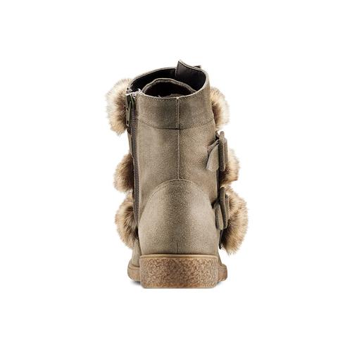 Ankle boots Michelle con dettagli in pelliccia bata, grigio, 593-2442 - 16