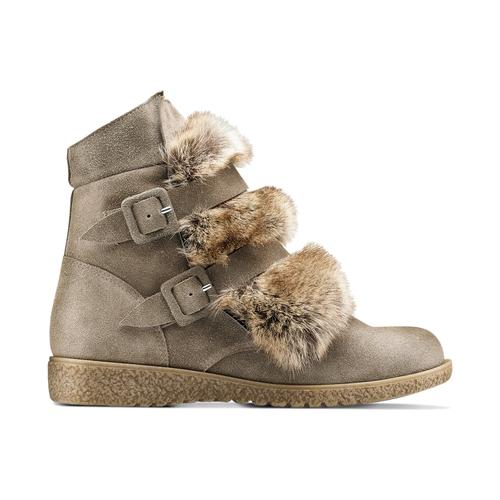 Ankle boots Michelle con dettagli in pelliccia bata, grigio, 593-2442 - 26