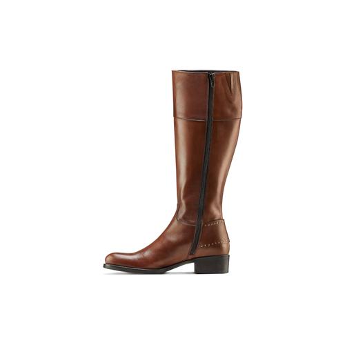 Stivali alti in pelle con borchie bata, marrone, 594-3427 - 16