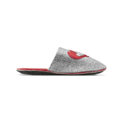 Pantofole in lana cotta bata, grigio, 579-2112 - 26