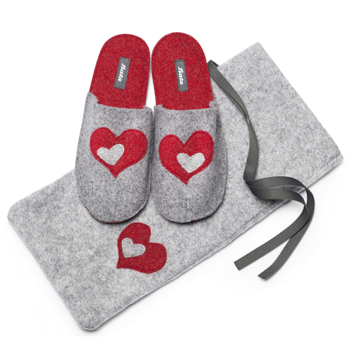 Pantofole in lana cotta bata, grigio, 579-2112 - 19
