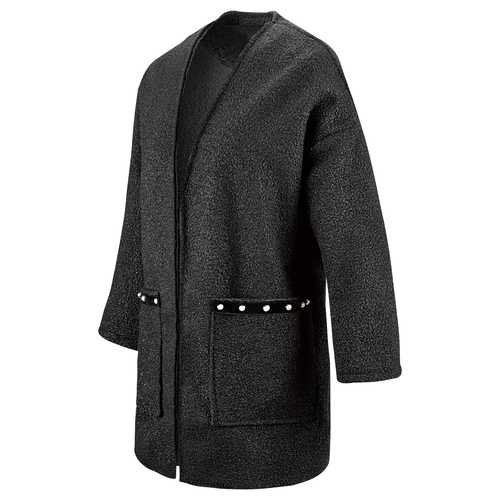 Cappotto in lana con dettaglio perle bata, nero, 979-6220 - 16