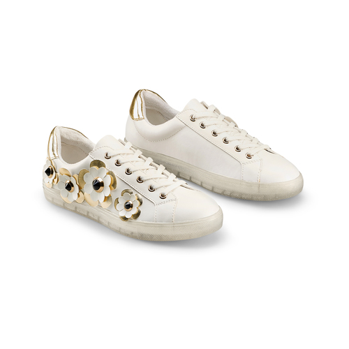 Sneakers con dettagli floreali bata, bianco, 541-1189 - 16