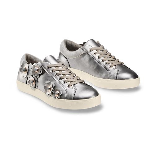 Sneakers con dettagli floreali bata, argento, 541-2166 - 16