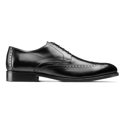Stringate in pelle con dettagli Brogue bata-the-shoemaker, nero, 824-6342 - 26
