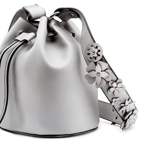 Borsa a secchiello con dettaglio florale bata, grigio, 961-9230 - 15