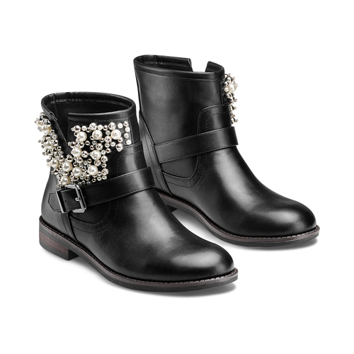 Ankle boots con perle bata, nero, 591-6783 - 16