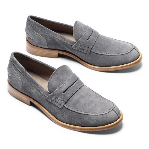 Mocassini in pelle scamosciata bata-the-shoemaker, grigio, 813-2116 - 19
