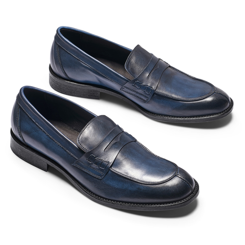 Mocassino in vera pelle da uomo bata-the-shoemaker, blu, 814-9129 - 19