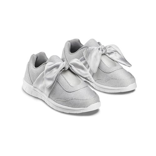 Sneakers con fiocco mini-b, argento, 329-1341 - 16
