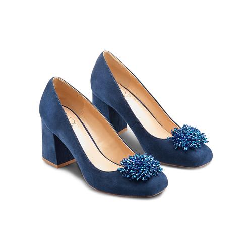 Décolleté Insolia con perline insolia, blu, 729-9217 - 16