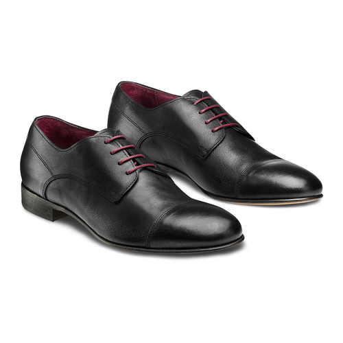 Stringate in vera pelle bata-the-shoemaker, nero, 824-6347 - 16