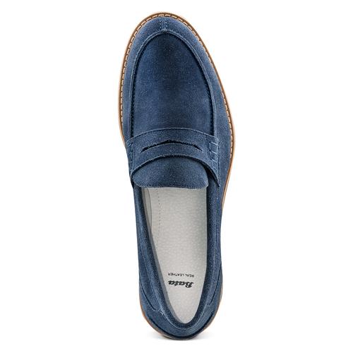 Mocassini in suede bata, blu, 813-9113 - 17