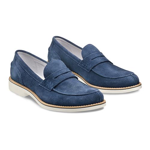 Mocassini in suede bata, blu, 813-9113 - 16