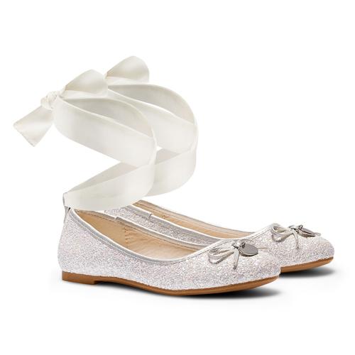 Ballerine con nastro alla caviglia mini-b, bianco, 329-1219 - 26
