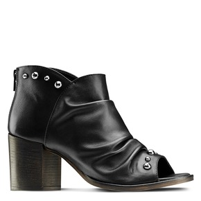 Sandali con effetto arricciato bata, nero, 724-6192 - 13