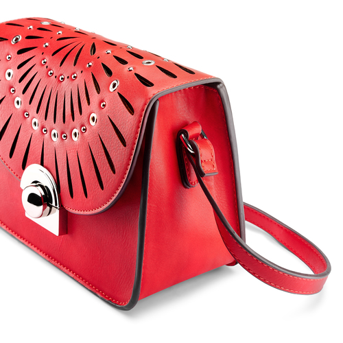 Borsa a tracolla con trafori bata, rosso, 961-5219 - 15
