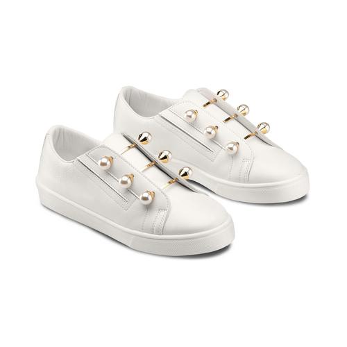 Sneakers con maxi perle bata, bianco, 541-1375 - 16