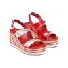 Sandali con zeppa bata, rosso, 661-5282 - 16