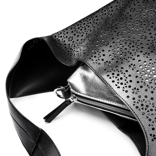 Hobo bag con trafori bata, nero, 961-6270 - 15