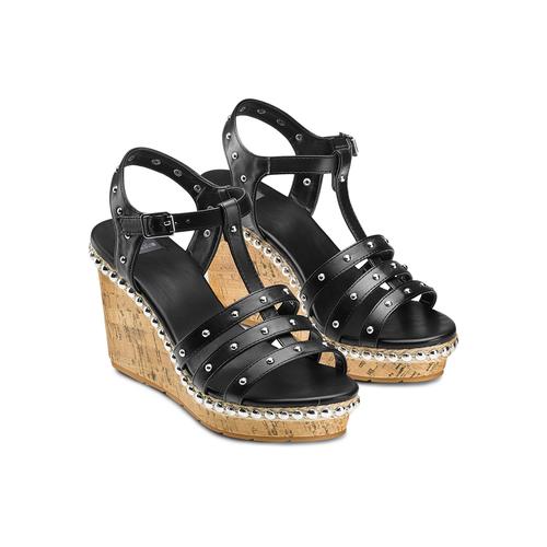 Sandali con borchie bata, nero, 761-6235 - 16