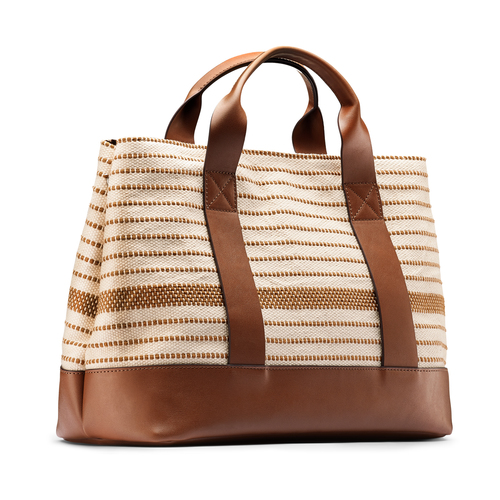 Shopper in canvas bata, beige, 969-1307 - 13