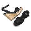 Sandali con zeppa  bata, nero, 769-6236 - 26