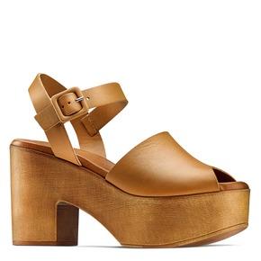 Sandali con tacco largo bata, marrone, 764-3437 - 13