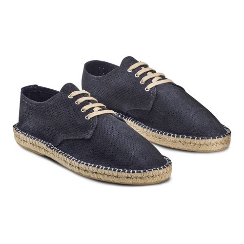 Stringate in suede bata, blu, 853-9213 - 16