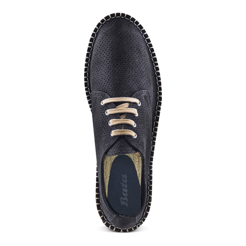 Stringate in suede bata, blu, 853-9213 - 17